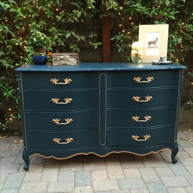 Vaisselier Shabby Chic: 8-Drawer Shabby Chic Dresser In Sherlock Blue