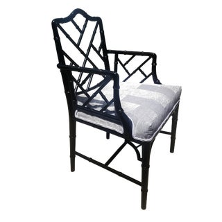 Faux Bamboo Chinese Chippendale Black Lacquered Armchair