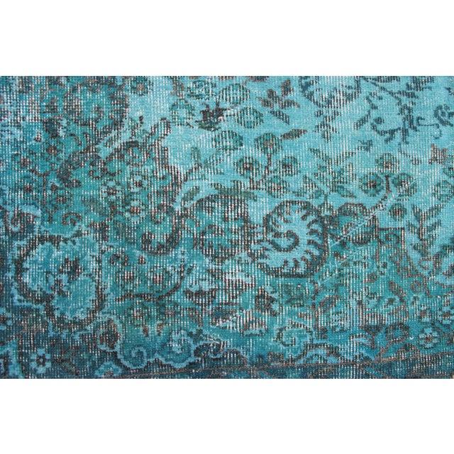 "Turkish Overdyed Turquoise Area Rug - 5'7"" X 9'1"" - Image 4 of 8"