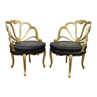 Vintage French Style Hollywood Regency Gold Chairs - A Pair
