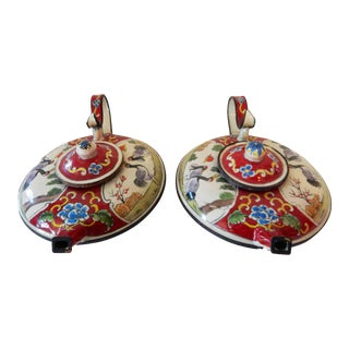 Old Miniature Enamel Tea Pots - a Pair