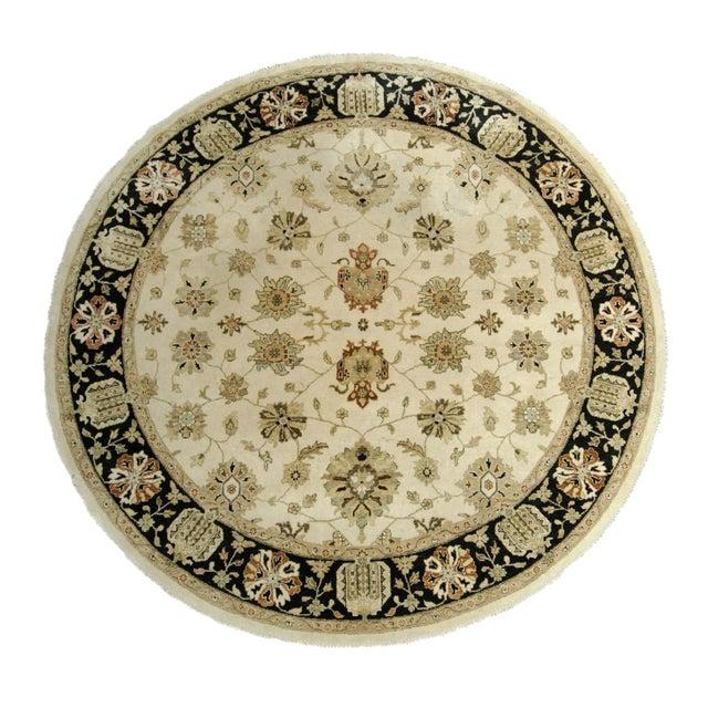 Image of Kalaty Oushak Ivory & Black Round Rug - 10' X 10'