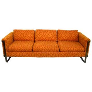 Milo Baughman Bronze Flat Bar 3-Seat Sofa
