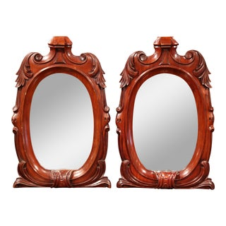 19th Century Regency-Style Carved Mahogany Mirrors with Foliage - a Pair