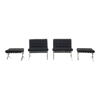 Matched Pair of Mies Van Der Rohe for Knoll Barcelona Chairs with Ottomans