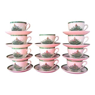 Spode Christmas Tree Flat Cup and Saucers - Set of 11
