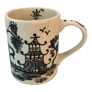 Black Porcelain Chinoiserie Mug