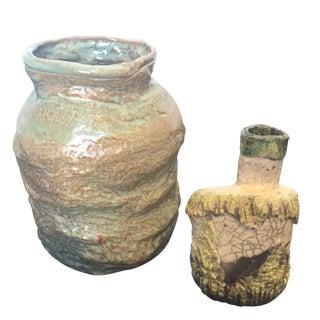 Vintage Raku Studio Pottery Vases - a Pair