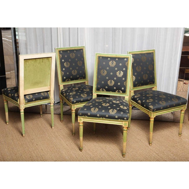 Set of Four Painted Louis XVI style Chairs by Jansen - Image 4 of 10