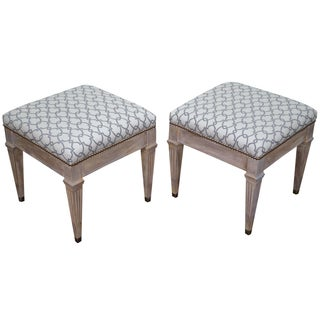 Vintage Custom Painted Regency Ottomans - A Pair