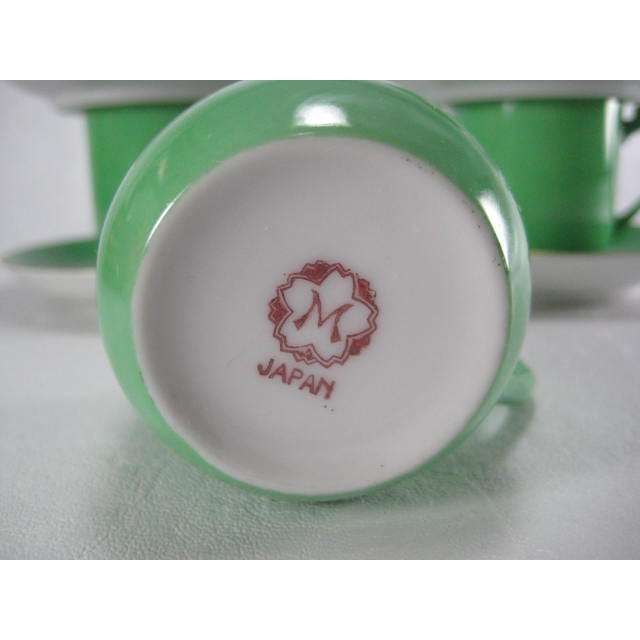 Green Demitasse Cups & Saucers by Morimura - 8 Pieces - Image 8 of 11