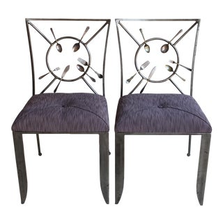 "Randall Kramer ""Silverware"" Chairs - A Pair"