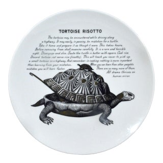 Piero Fornasetti Porcelain Recipe Plate, Tortoise Risotto, Made for Fleming Joffe, Early 1970s.