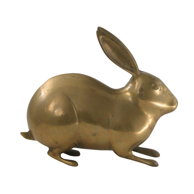 Large Vintage Brass Rabbit - Image 1 of 7
