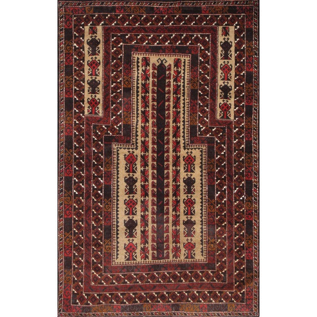 """Pasargad Balouch Collection Red Rug - 3'1"""" X 4'11"""" - Image 1 of 2"""