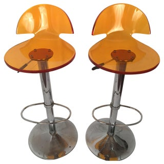 Vintage Orange Lucite & Chrome Stools - A Pair