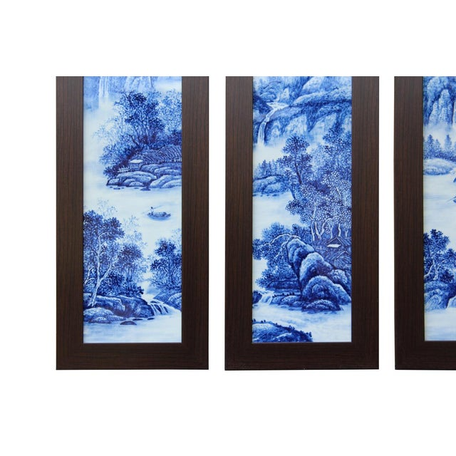 Chinese Blue & White Porcelain Wall Panels - Set of 4 - Image 3 of 6
