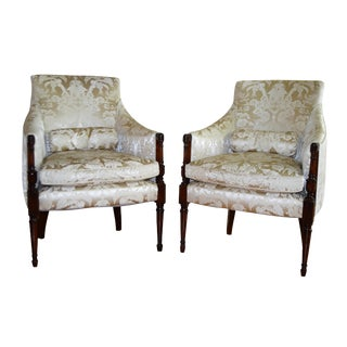 Sheraton Damask Silk Arm Chairs - A Pair
