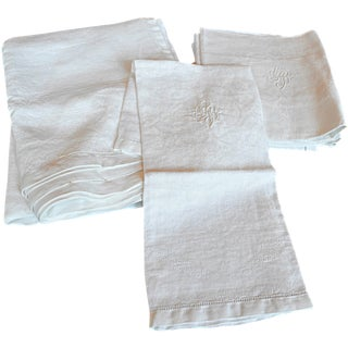 Monogrammed Antique French Table Linens - Set of 7
