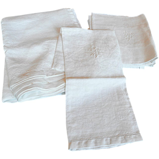 Image of Monogrammed Antique French Table Linens - Set of 7