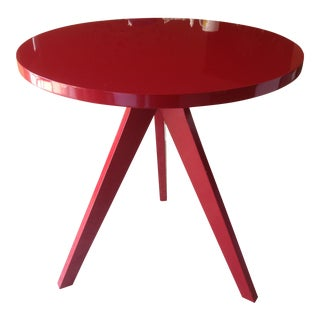 CB2 Modern Red Lacquered Tripod Table