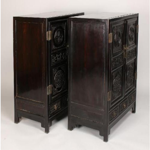 Image of Antique Chinese ZItan Cabinets - A Pair