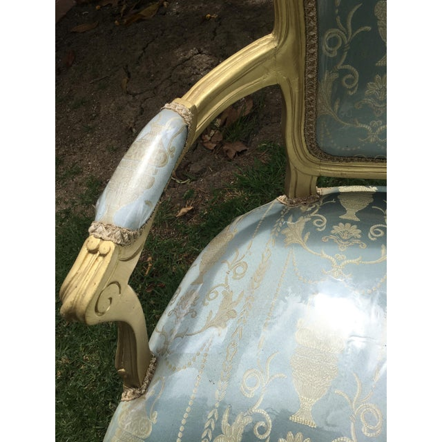Gold Gilt Italian Louis XVI Settee & Chairs - Set of 3 - Image 6 of 9