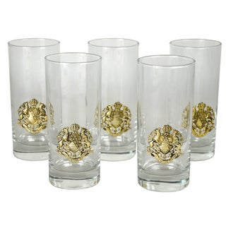 Vintage Crest Cocktail Glasses - Set of 5