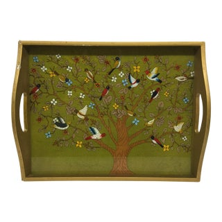 Vintage Bird Tree of Life Serving Tray