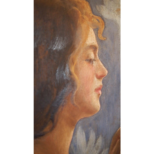 "Image of Art Nouveau Oil on Artist Board Portrait Signed ""Tessari"""