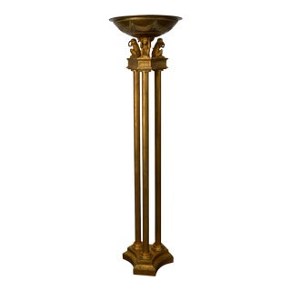 Regency Style Gilt Column Floor Lamp w/ See Hear Speak No Evil Monkeys