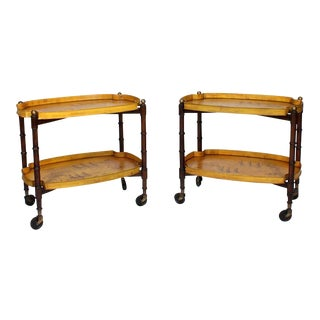 Pair of Tole and Wood Faux Bamboo, Italian Drinks Trolleys