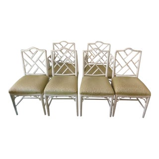 Faux Bamboo Chippendale Dining Chairs - Set of 6
