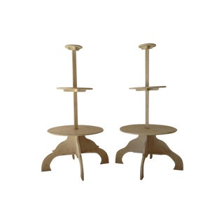 Hand Carved French Tiered Plant Stands - A Pair