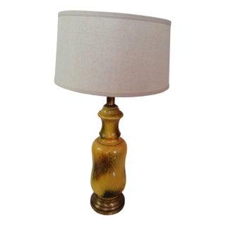 Large Yellow Glazed Vintage Ceramic Lamp