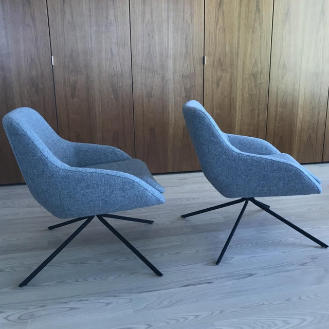 Palau Blue Swivel Chairs - A Pair - Image 5 of 8