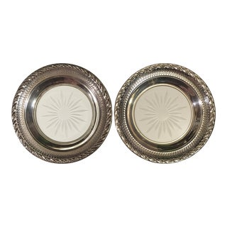 Set of 2 Sterling Silver Cut Glass Wine Coasters