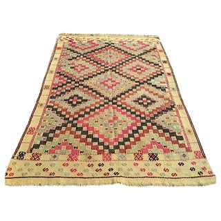 Vintage Handwoven Turkish Kilim Rug - 4′5″ × 6′3″