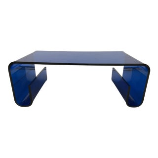 Mid-Century Modern Blue Lucite Scroll Coffee Table