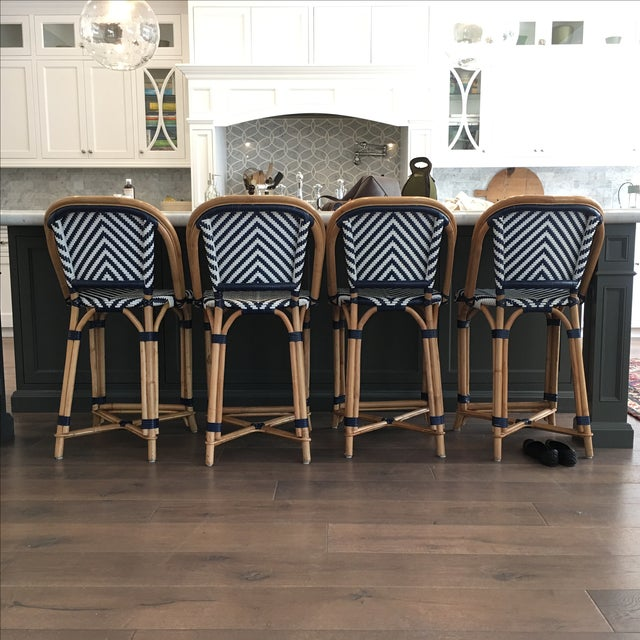 Image of Williams Sonoma Blue/White Counter Stools - S/4
