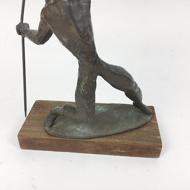 Vintage Twila Albers Bronze Figure Throwing Spear - Image 5 of 8