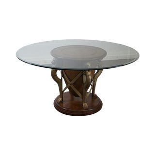 Regency Style Round Glass Top Rattan Base Dining Table W/ Lions
