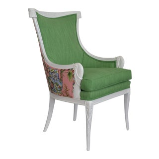 Epaulets and Pearls Pink and Green Upholstered Vintage Chair