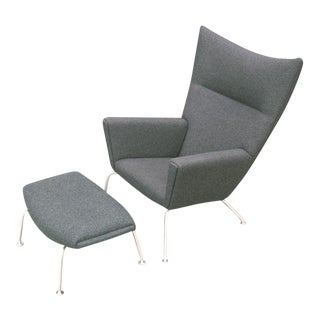 Hans Wegner Wing Chair and Ox Chair Ottoman