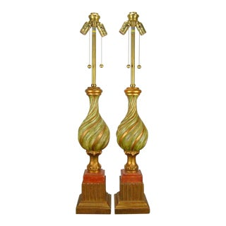 Marbro Carved Wood Italian Lamps