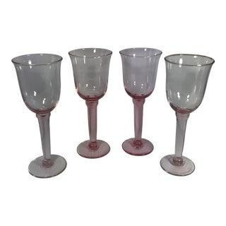 Handblown Pink Wine Stemware - Set of 4
