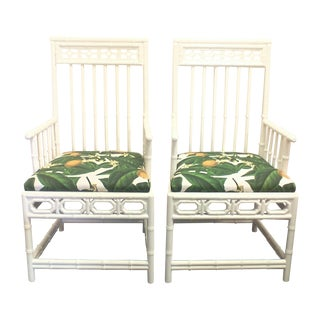 Chinese Chippendale Retro Lemon Chairs - Pair