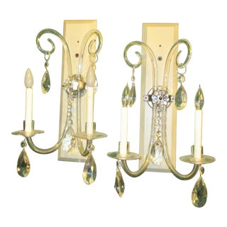English Crystal Sconces on Bronze Mounts - A Pair