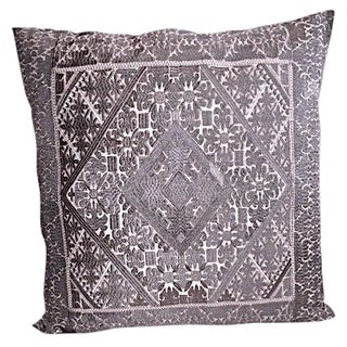 "Swati Embroidered Pillow Handcrafted in Pakistan - 20"" X 20"""