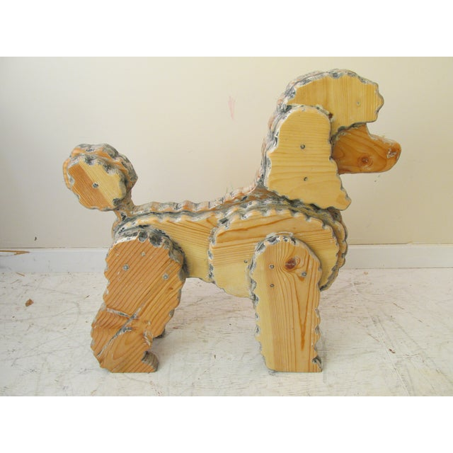 Life Size Wooden Poodle Sculpture - Image 3 of 7